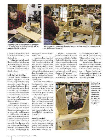 Former Popular Woodworking editor Steve Shanesy builds an Adirondack chair with Norm Abram in the New Yankee Workshop.