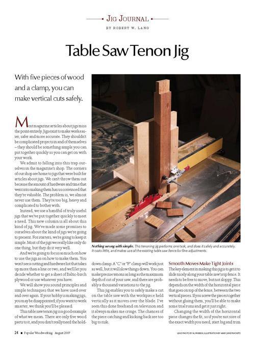 Jig Journal: Table Saw Tenon Jig