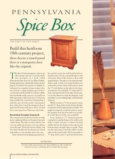 Choose a raised-panel door or a marquetry door (like the original) for this heirloom, 18th century spice box, which also can be used as a jewelry box.
