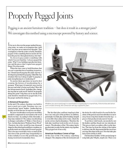 Properly Pegged Joints