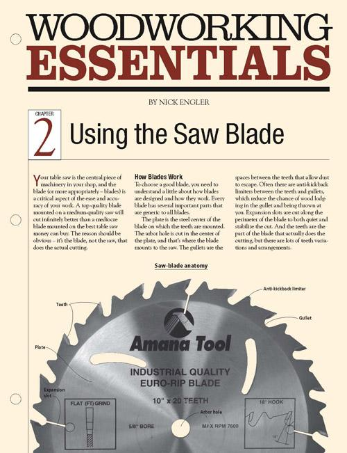 Woodworking Essentails Ch 2: Using the Table Saw Blade