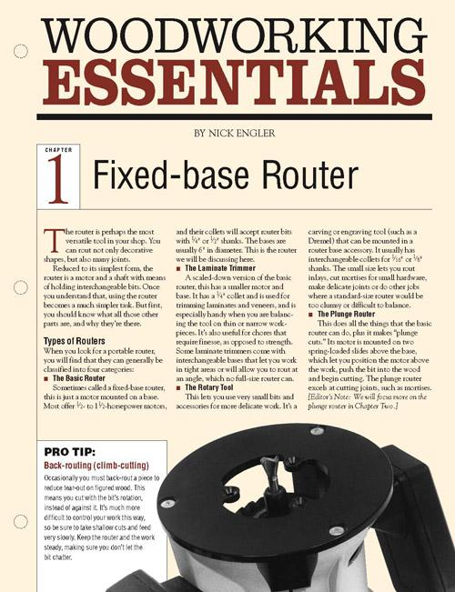 Woodworking Essentials Ch 1: Fixed-base Router