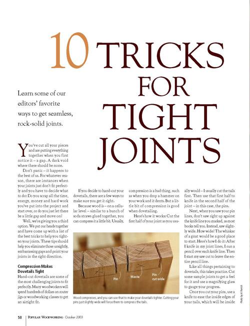 10 Tricks for Tight Joints