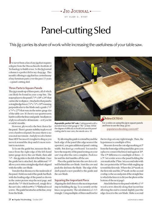 Jig Journal: Simple Panel-cutting Sled