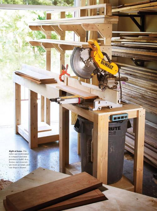 This miter saw workstation is compact and inexpensive to build.