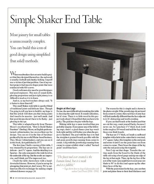 Simple Shaker End Table