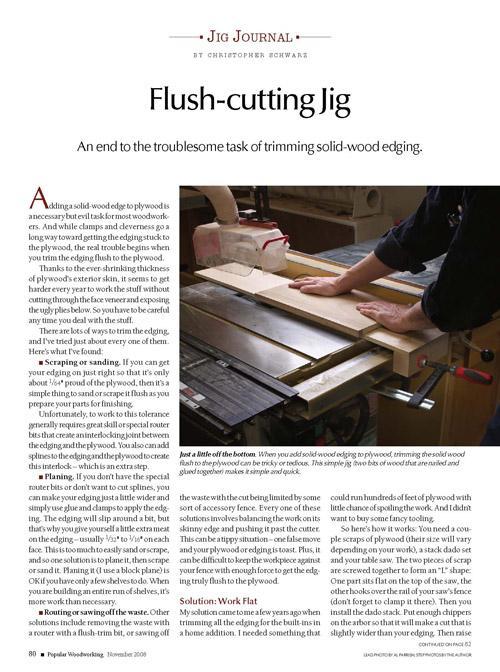 Jig Journal: Flush-Cutting Table Saw Jig