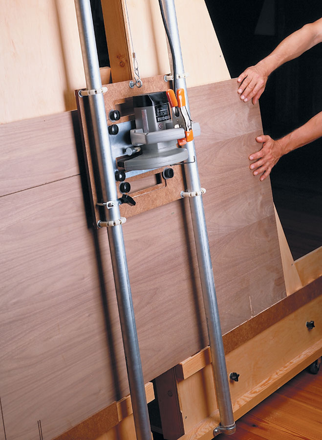Made with common materials and hardware, this shop-built panel saw allows one person to easily crosscut or rip a full sheet of plywood.