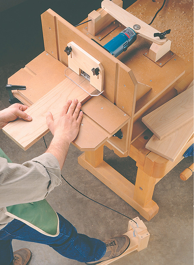 This simple shop-built table converts your plate joiner into a handy benchtop tool.