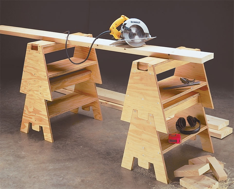 A simple system of interlocking tabs and notches makes this set of stacking sawhorses as sturdy as they are versatile.