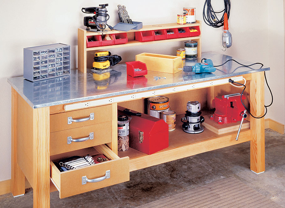 The metal top on this bench creates a tough, durable worksurface that's ideal for dirty, messy jobs.