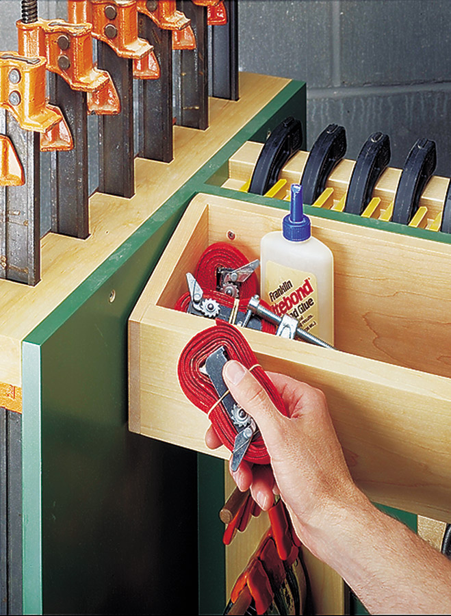 Keep clamps and glue-up supplies handy with this roll-around cart. Custom-made hangers hold different types of clamps securely yet still provide quick, easy access.