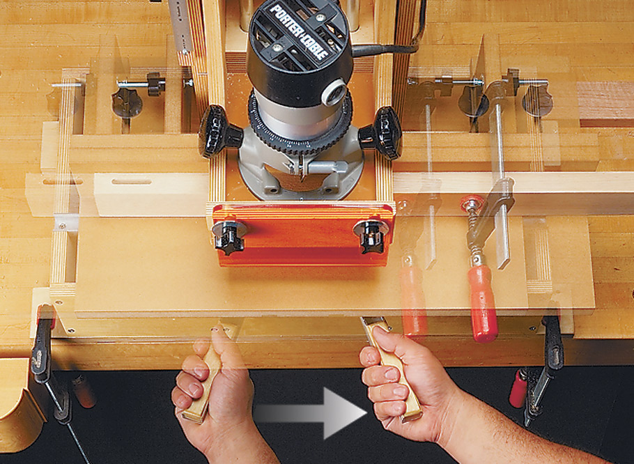 Rout precision mortises in less than a minute with this simple, shop-built machine.