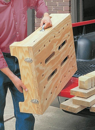 "Turn a single sheet of plywood and a few pieces of hardware into a portable workbench that ""knocks down"" for compact storage."