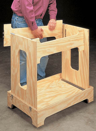 """Turn a single sheet of plywood and a few pieces of hardware into a portable workbench that """"knocks down"""" for compact storage."""