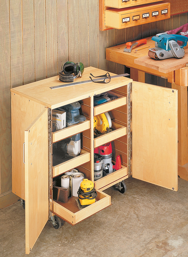 Keep all your portable power tools right at hand with this roll-around cart. Adjustable trays help organize tools and accessories.