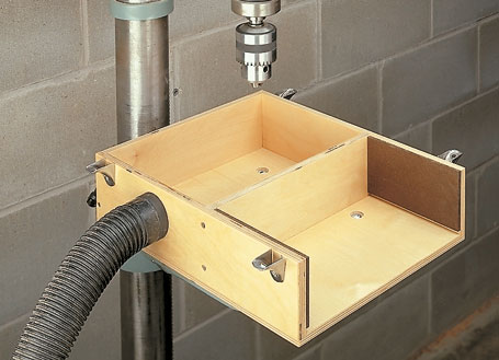 A large worksurface and adjustable fence make this an outstanding drill press table.