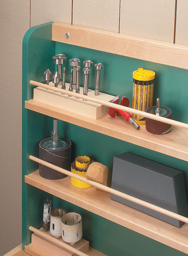 Reclaim the top of your workbench and add some valuable storage space with this handy drill press shelf and storage rack combo.