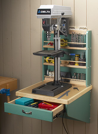 Wall-Mounted Drill Press Shelf