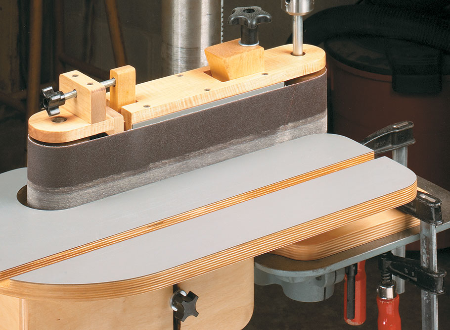 No space for a full-size edge sander? No Problem! This this shop-built accessory transforms your ordinary drill press into a belt sander with all the features of a full-size machine.