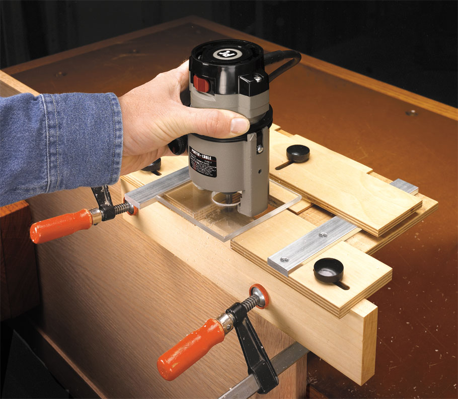 Routing a perfect mortise for a hinge can be a challenge, but this jig makes it a snap by using the hinge to set it up.