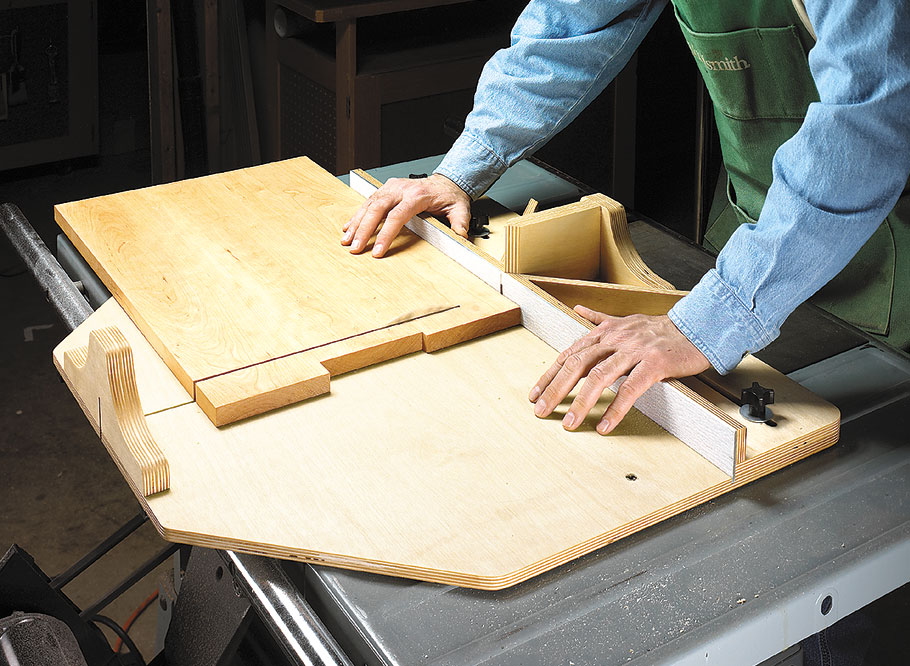 Reversible fences make this cut-off sled the perfect choice for accurate crosscuts and miters. For even more versatility, you can build the add-on tenoning jig.