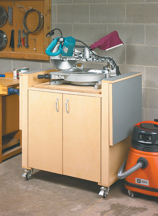This tool station pulls double duty by serving as a planer stand as well as a miter saw station - complete with extension wings and fences.