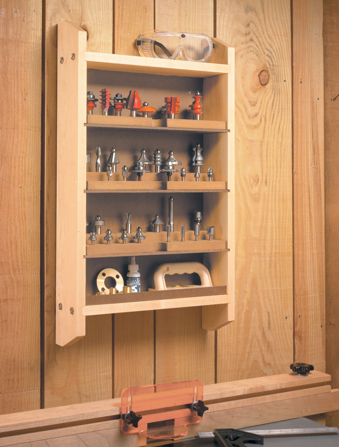 To keep your collection of accessories and router bits front and center, all you need is this simple wall rack.