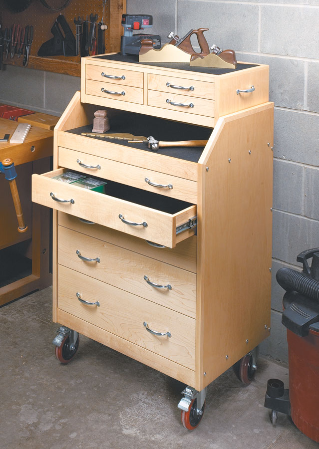 Store and organize an entire shop's worth of tools with this roll-around cart... Plus, you can move them right where their needed.