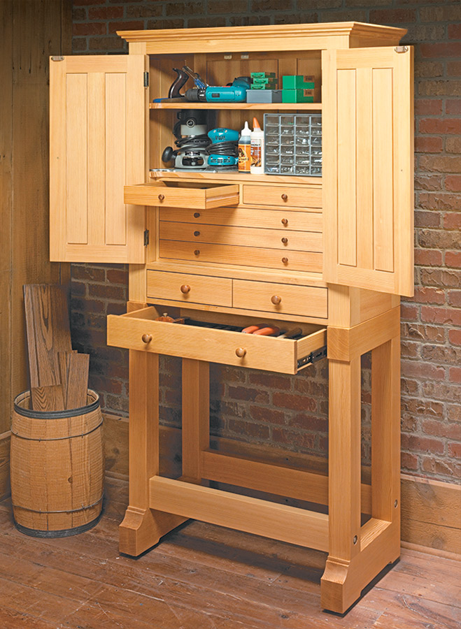 With solid frame and panel construction, this heirloom tool cabinet will be a welcome addition to any workshop.