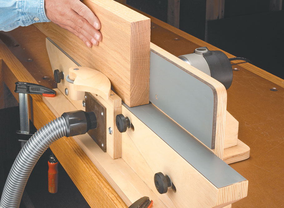 We'll show you how to build a unique benchtop accessory that converts a common router and a flush trim bit to a powerful jointer tool.