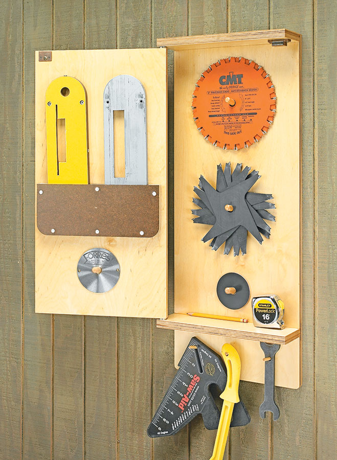 Keep all of your table saw blades, push sticks, and other accessories within easy reach with this wall rack.
