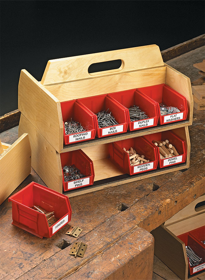 It's difficult to combine quick and easy hardware storage with portability. These stacking hardware totes give you both.