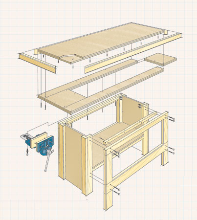 With less than $200 and a weekend, you can build a sturdy workbench that will last you a lifetime.