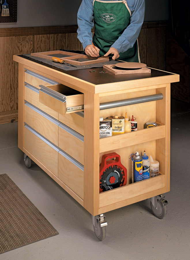 This handy cart is loaded with storage options and provides a rock-solid worksurface no matter what the task.