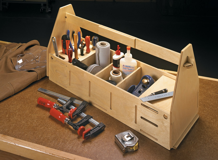 Here's a handy carry-all for organizing tools. And it goes together without glue or fasteners.