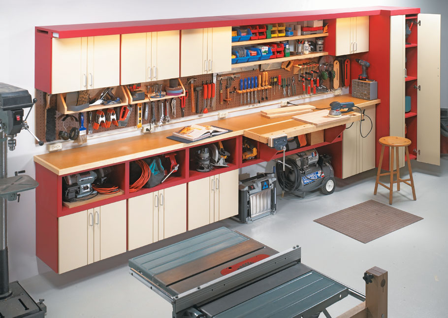 Turn a wall into the ultimate workcenter with these easy-to-build cabinet add-ons.