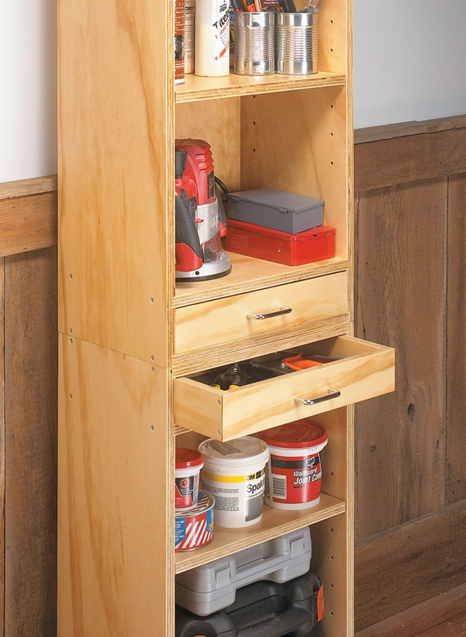 Five inexpensive plywood projects that add worksurfaces and storage to your shop.
