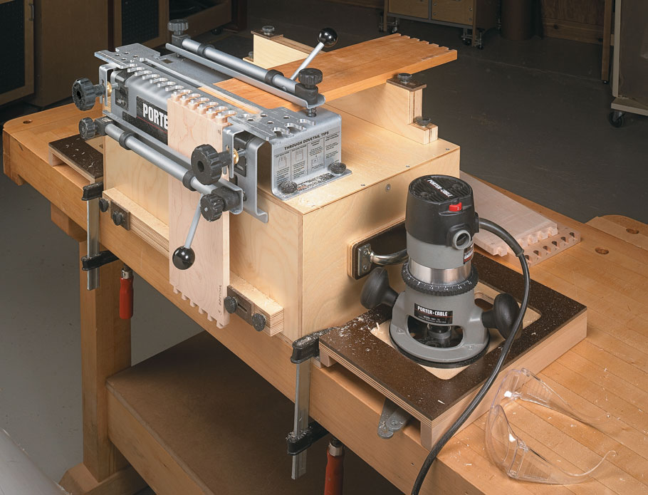 Accuracy, convenience, and storage. You get it all with this simple workcenter for your dovetail jig.