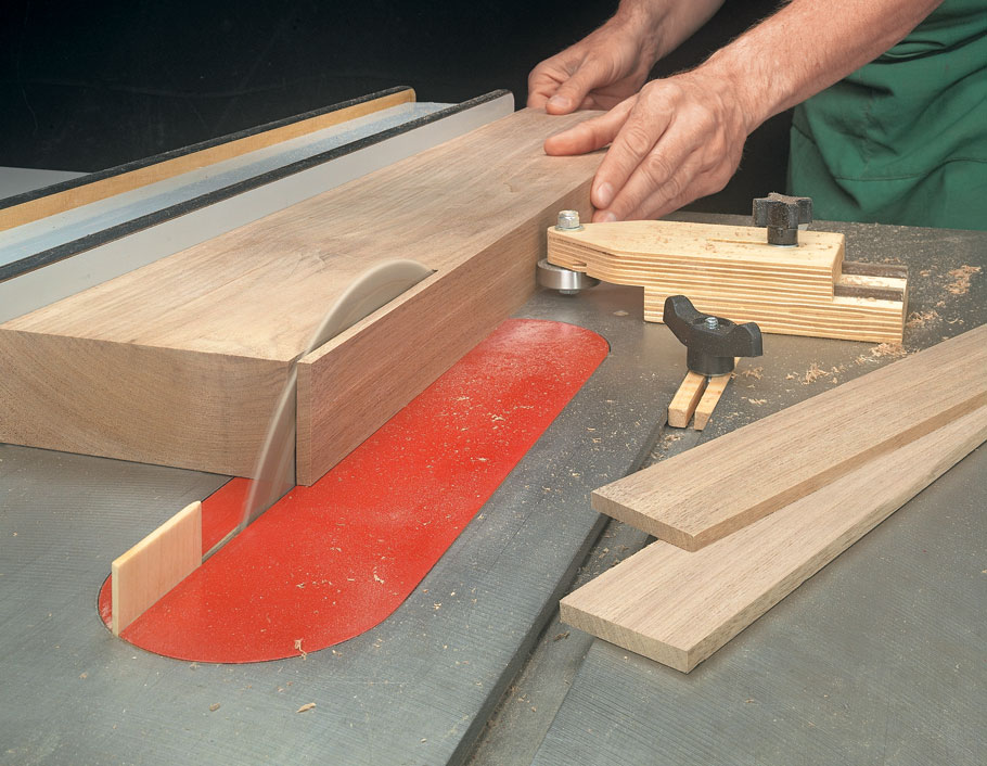Cutting thin strips is a challenge. This simple shop-made jig and a few tips and techniques will guarantee safe, accurate results.