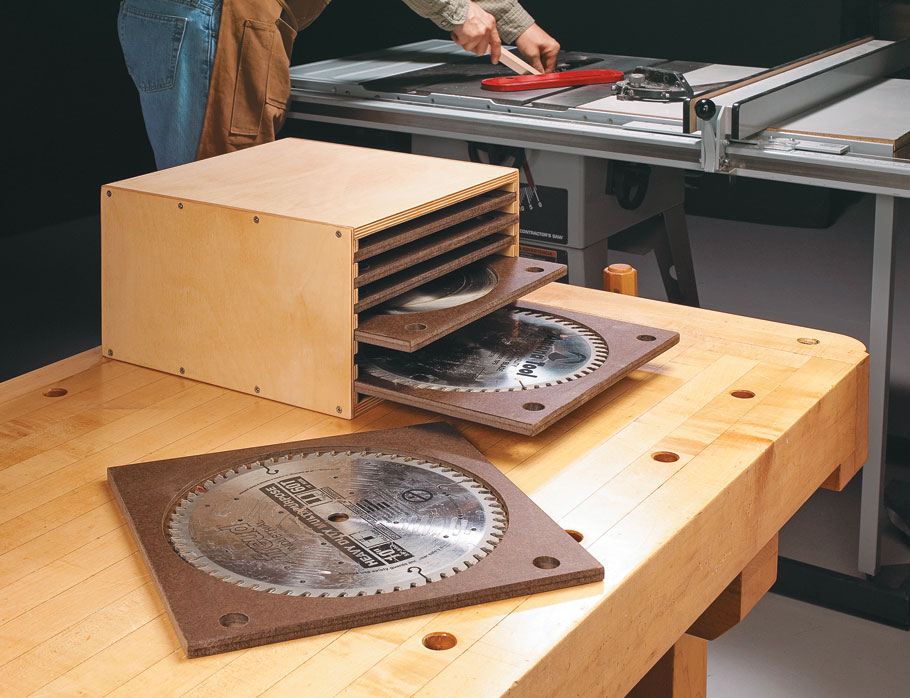 Here are three easy-to-build storage systems that protect your saw blades while also keeping them well organized.