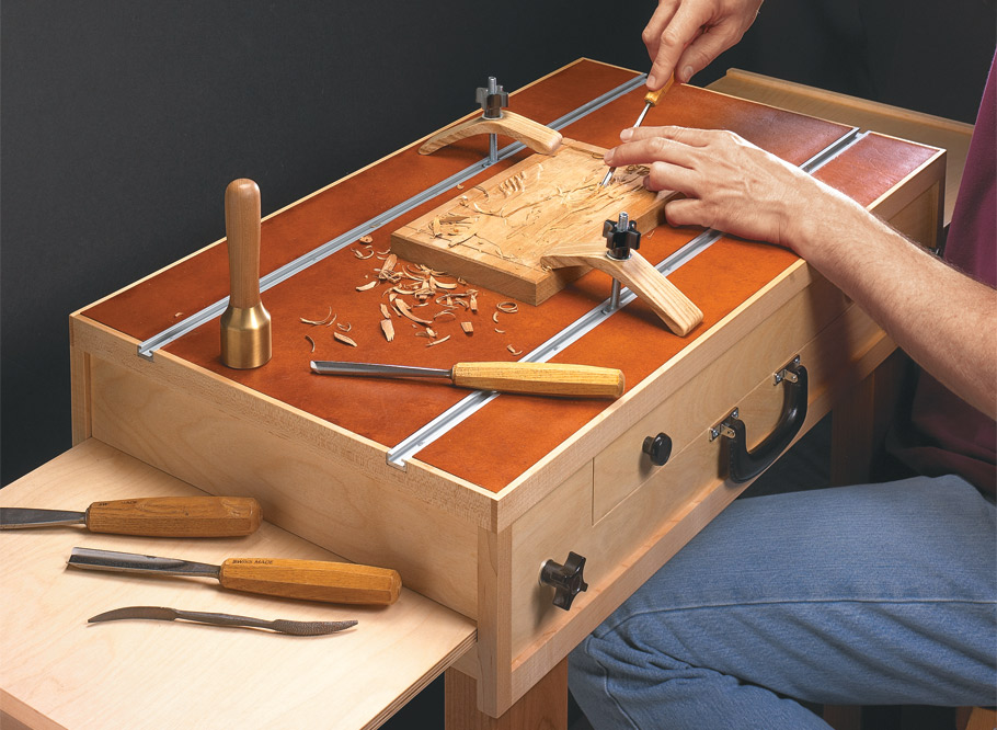 This table is like a workbench in a kit. Slide a panel, twist a knob, and it converts from a