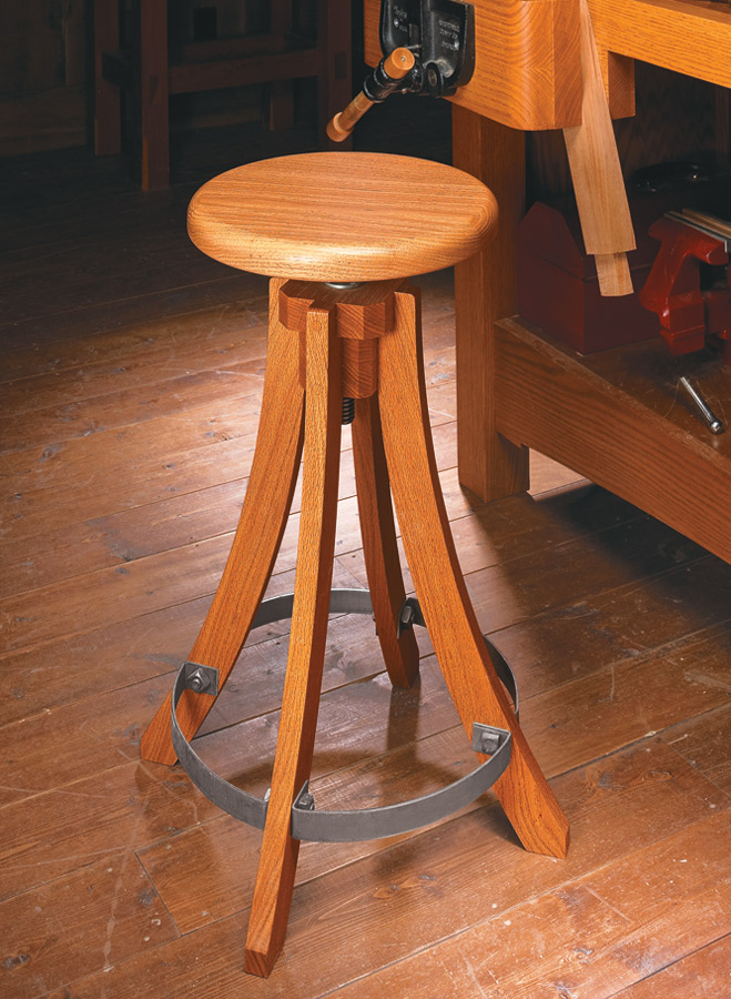 Sure-footed and easy to adjust, this shop stool lifts comfort to new heights.