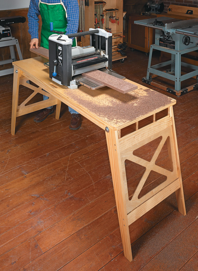 Designed with common materials, this portable work surface holds up under heavy loads.
