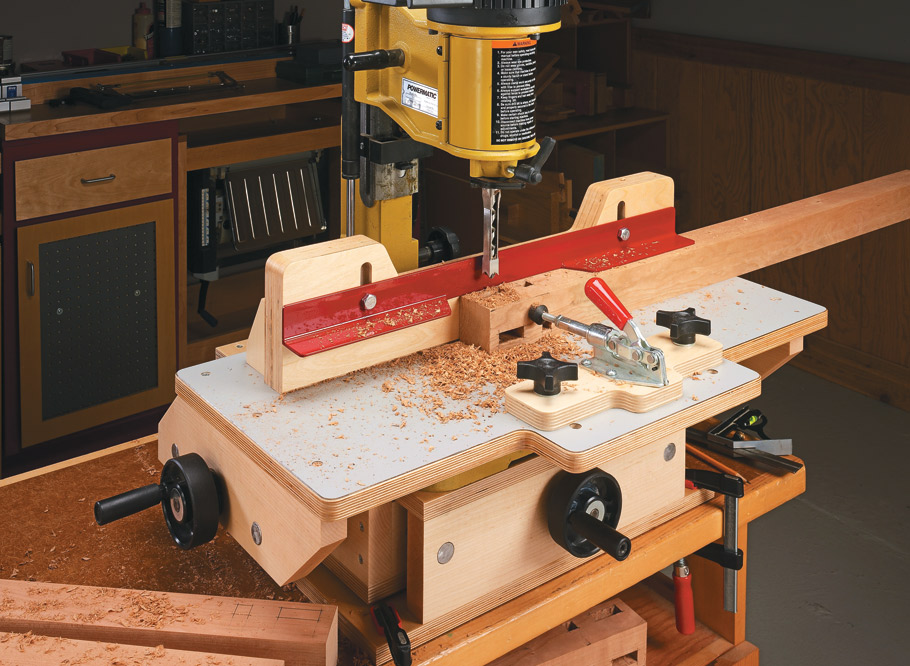 Accurate, repeatable mortises are guaranteed with this sliding table.