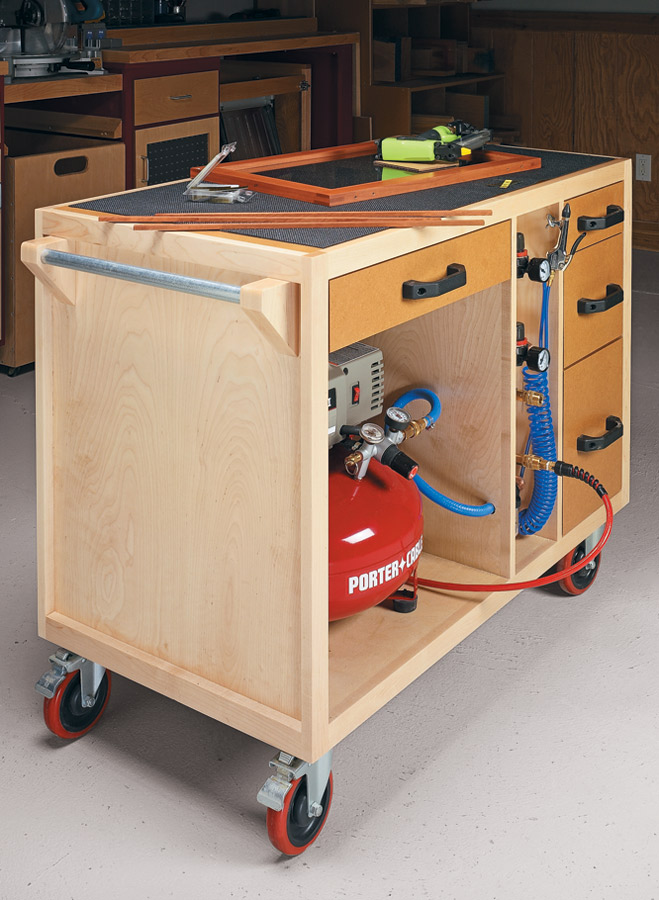 Keep your air compressor, tools, and all the accessories at hand with this versatile, roll-around workcenter.