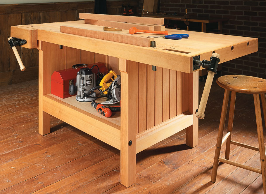 This heavy-duty workbench provides a place to hone your woodworking skills for years to come.