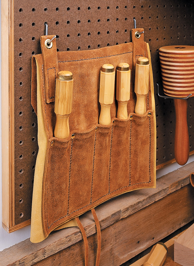 Create rugged, great-looking tool holders with just a few tools, some scraps of leather, and an afternoon.