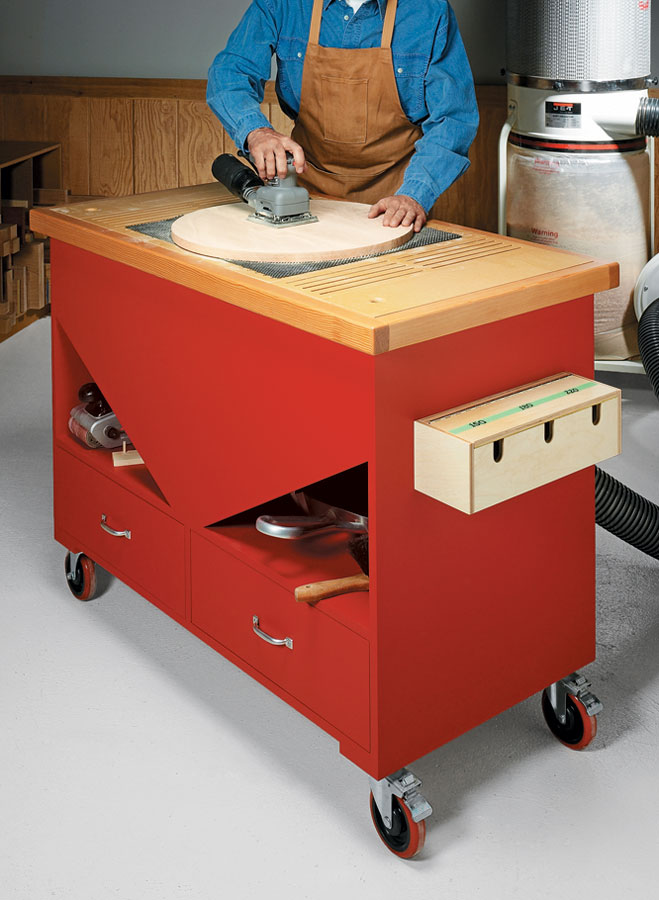 Simple construction, mobility, and industrial grade features make this sanding station a dust collection dynamo.