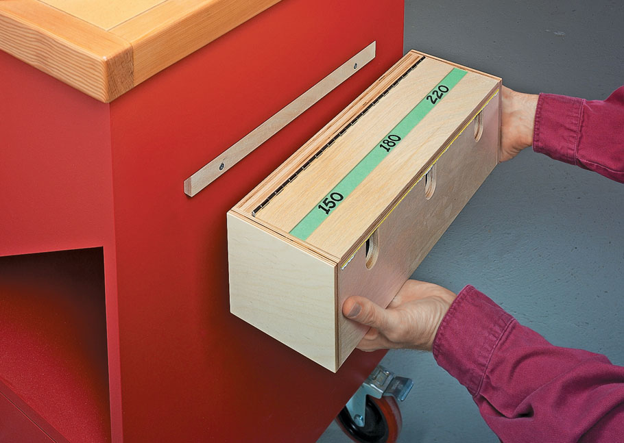 This handy dispenser keeps all your most commonly used grits of sandpaper within easy reach.